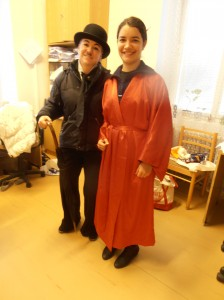 "Here's my ""Vaguely Asian"" costume with one of my colleagues, Charlie Chaplin."
